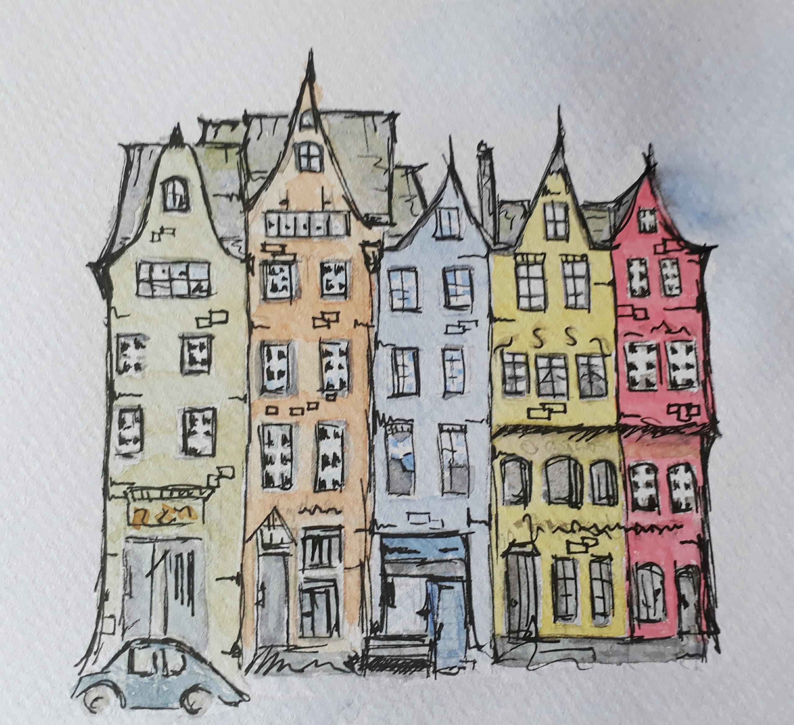 Coloured Houses in Watercolour/Pen & Ink