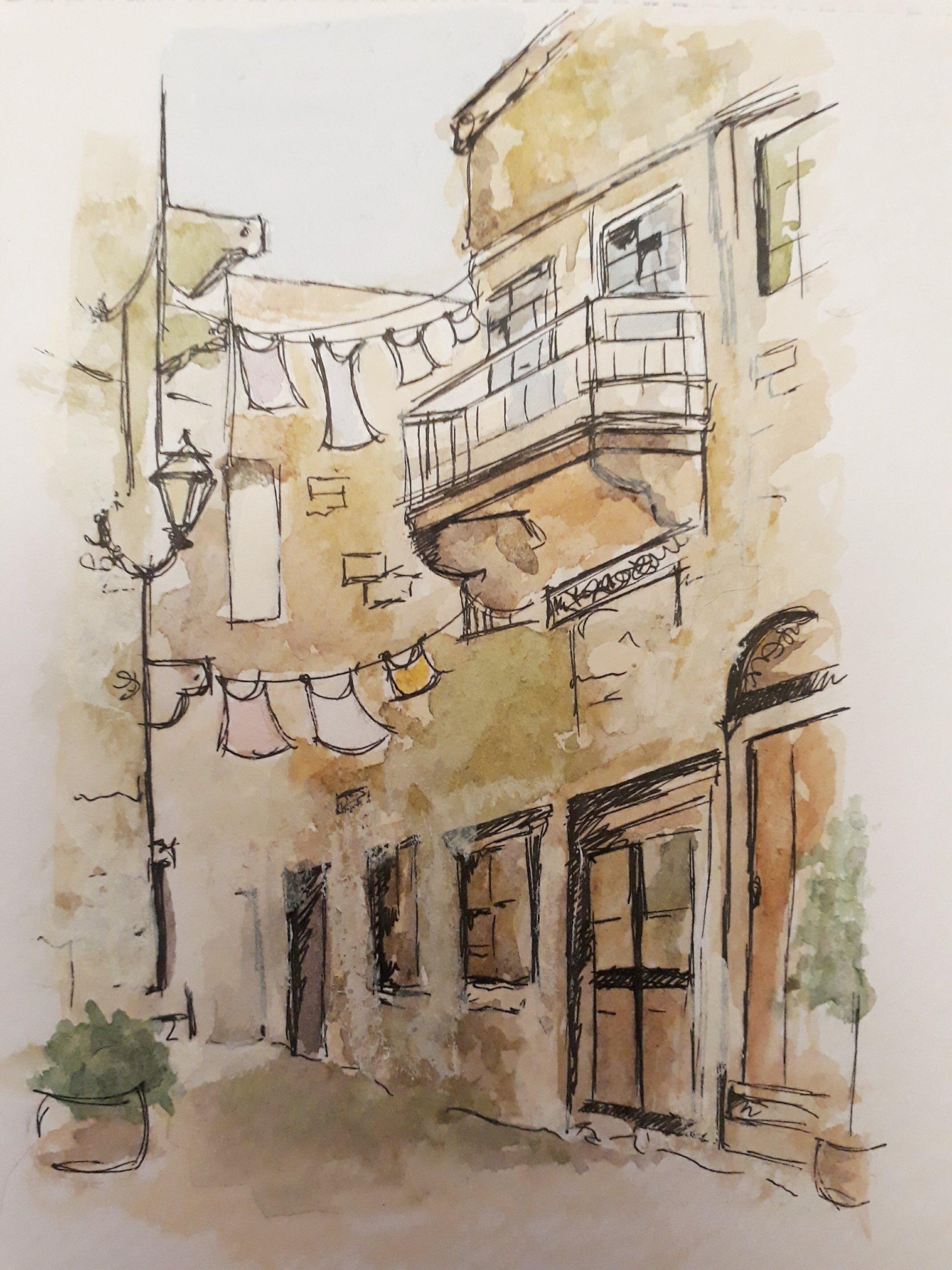 Italian Street in Watercolour
