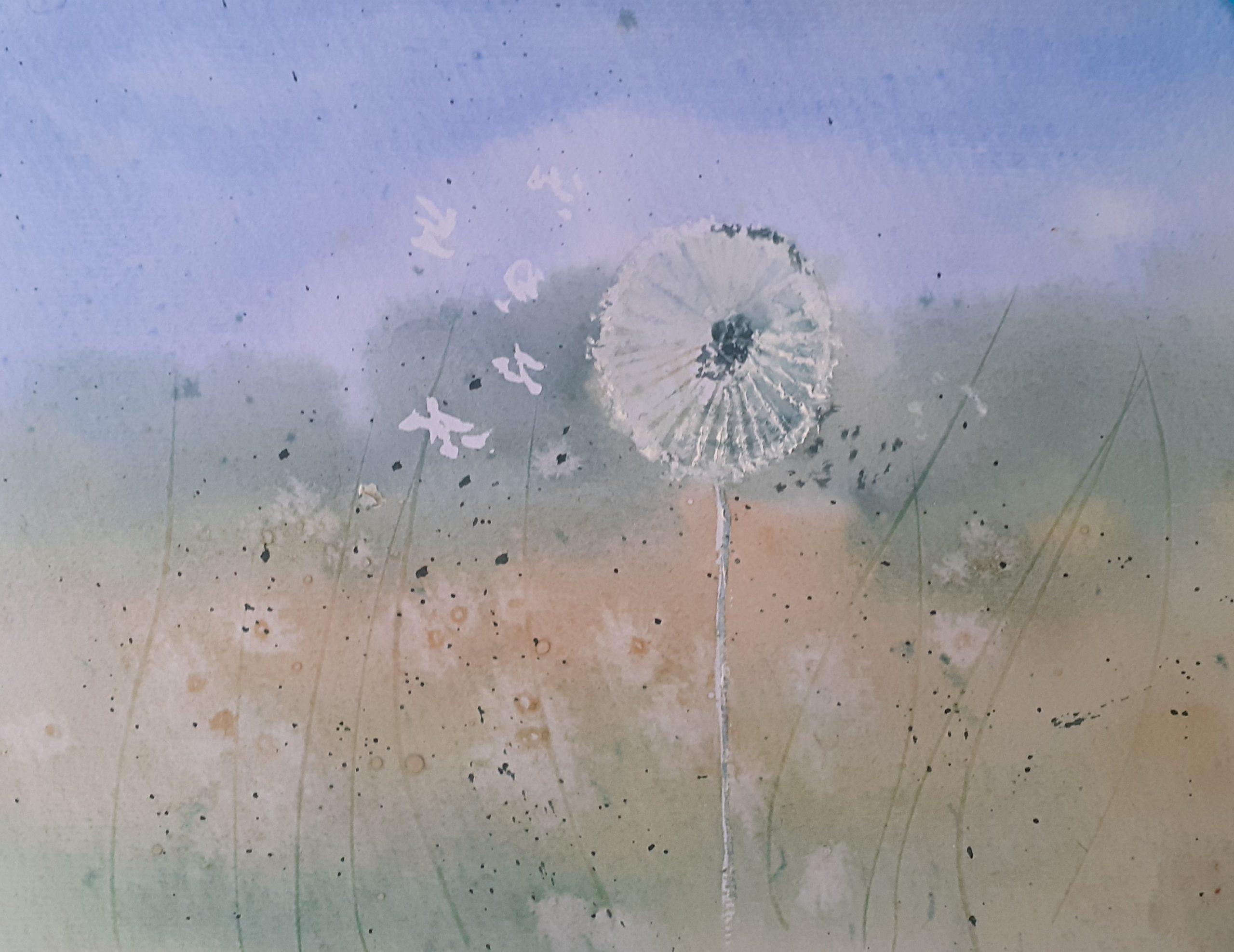 Dandelion Clock in Watercolour